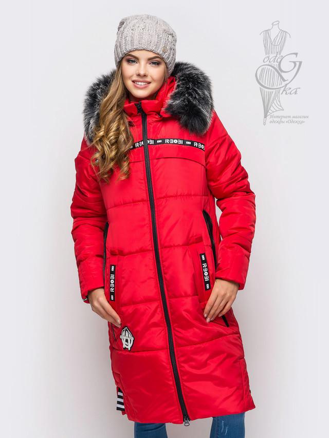 Цвет красный Женского зимнего пуховика Бэнд