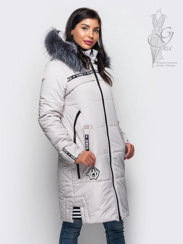 Белый цвет Женского зимнего пуховика Бэнд