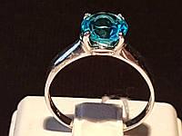 Серебряное кольцо Безмятежность с голубым кварцем. Артикул 1298/1р-QSWB