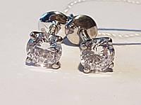 Серебряные пуссеты с фианитами. Артикул 2647/9р-CZ