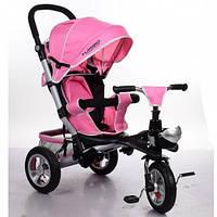 Трехколесный велосипед Turbo Trike M 3647A-10, резиновые колеса, нежно-розовый