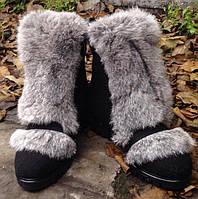 Ботинки  зимние из кашемира с натуральным мехом кролика