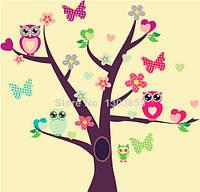 """Наклейка на стену в детскую комнату """"Три совы на дереве и одна в дупле"""" Высота дерева 95см"""