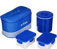 Термос пищевой металлический ланч бокс с сумкой A-plus 1670 Blue, фото 1