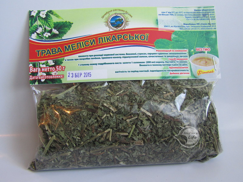 Меліси трава, 50 м - при безсонні, вегетативному неврозі, хворобливих менструаціях, мігрені