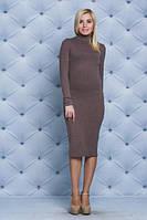 Шерстяное платье футляр коричневое