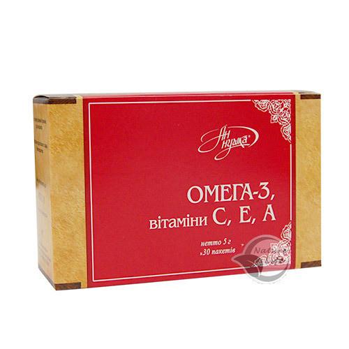 Омега-3 і вітаміни С. Е А, 30 шт по 5г - для серцево-судинної, сечостатевої систем, шлунково-кишкового тракту