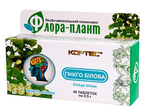 """""""Флора-Плант"""" ГІНКГО БІЛОБА"""" таб.40 - для поліпшення роботи мозку, пам'яті"""