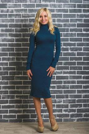 Шерстяное платье футляр индиго, фото 2