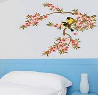 """Наклейка на стену, виниловые наклейки """"декоративное цветущее дерево с птицами"""" (лист70*50см)"""