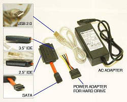 Переходник USB to SATA, IDE, 2.5 3.5 (с БП) — Sata/Ide на Usb 2.0