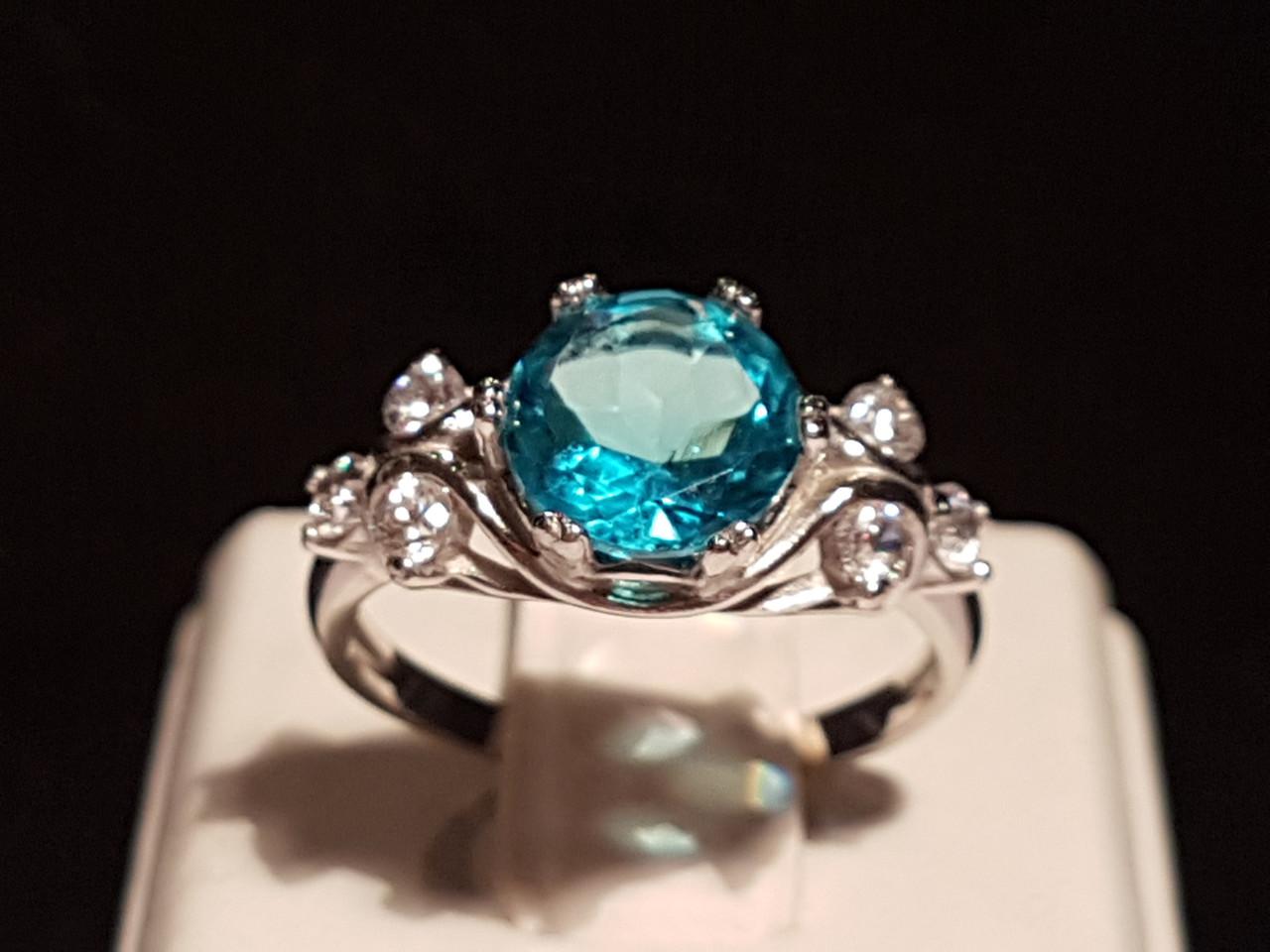 Срібне кільце Соня з блакитним кварцом. Артикул 1806/9р-QSWB 17,5