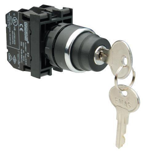 Кнопка с ключом 2-0-1, ключ вынимается в положении 0 (1НО+1НЗ)