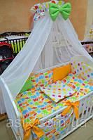 Детский постельный комплект  Asik с разноцветными слониками и горохами (8 эл-в) №231, фото 1