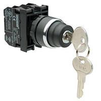 Кнопка с ключом 2-0-1, ключ вынимается во всех положениях (2НО)
