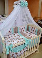 """Детский постельный комплект  Asik """"Мишка Тедди с мятным горошком"""" №256, фото 1"""