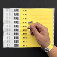 Бумажные контрольные браслеты Tyvek — 3/4'' (19мм) + ШТРИХ-КОД от 1000 шт.