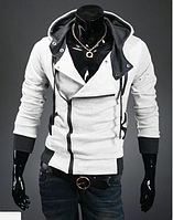 Толстовка , реглан, куртка L, XL, XXL белая Стильная ассиметрия