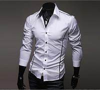 Мужская рубашка длинный рукав приталенная M, L, XL, XXL белая с декоративными швами