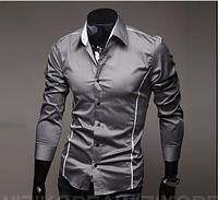 Мужская рубашка длинный рукав приталенная M, L, XL, XXL серая с декорактивными швами