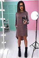 Модное ангоровое платье в полоску , фото 1