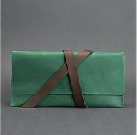 Кошелек кожаный для документов дорожный кейс зеленый/орех (ручная работа), фото 1