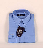 Рубашка синяя длинный рукав, размеры на рост от 90 см.