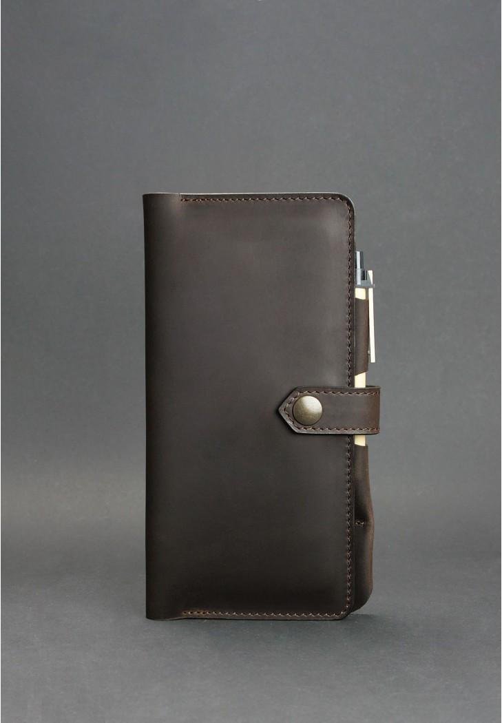 Клатч-кошелек кожаный мужской коричневый