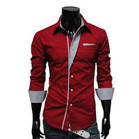 Контрастная рубашка мужская приталенная M, L, XL, XXL ( красный )