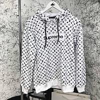 Кофта мужская Hoody Louis Vuitton x Supreme Monogram 18157 черно-белая