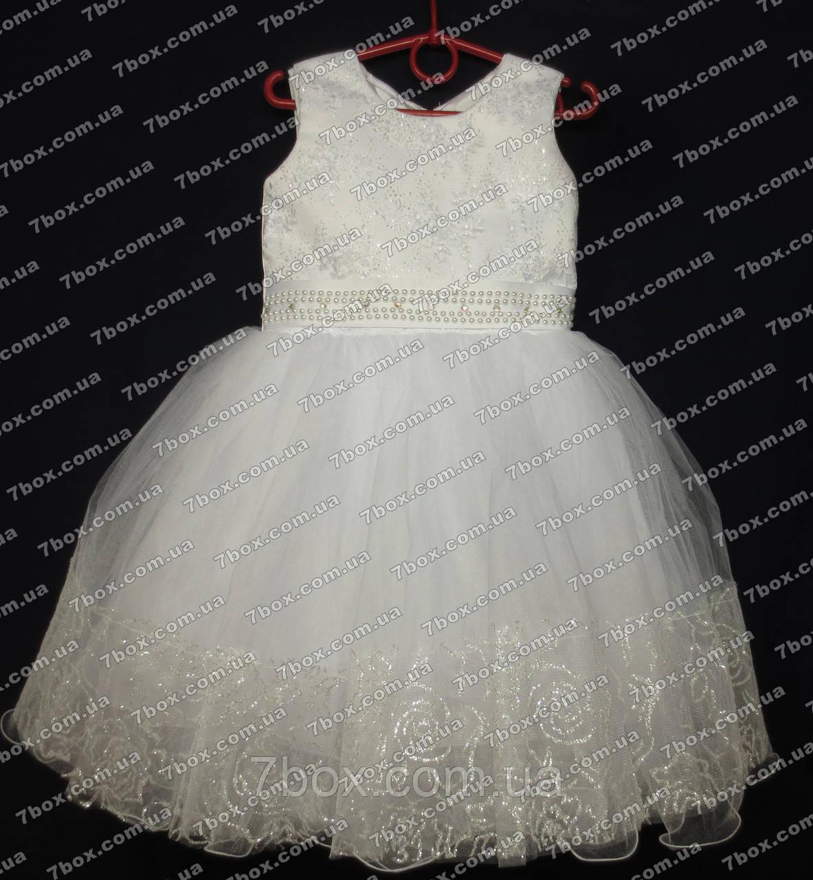 Детское платье бальное Роза (белое) Возраст 4-5 лет.