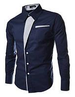 Контрастная мужская рубашка приталенная M, L, XL, XXL ( темно-синяя )