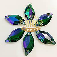 Пришивные листики (синтетич.стекло), цвет Emerald  AB, 9x20мм, 1шт