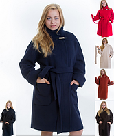 Длинное женское зимнее пальто oversize на поясе батал Letta