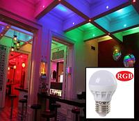 Светодиодная лампа  Е27 3W RGB цветная, фото 1