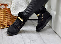 Женские зимние ботинки сникерсы,эко замша, внутри иск.мех, фото 1