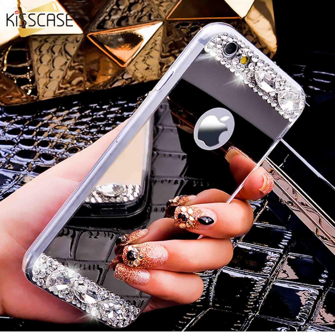 Чехол для Айфона 6 и 6S зеркальный серебристый со стразами