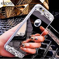Чехол для Айфона 5 и 5S зеркальный серебристый со стразами, фото 1