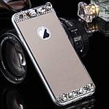 Чехол для Айфона 6 и 6S зеркальный серебристый со стразами, фото 2