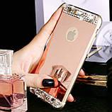 Чехол для Айфона 6 и 6S зеркальный серебристый со стразами, фото 3