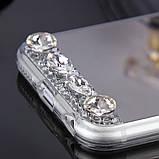Чехол для Айфона 6 и 6S зеркальный серебристый со стразами, фото 5