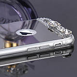 Чехол для Айфона 6 и 6S зеркальный серебристый со стразами, фото 6