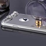 Чехол для Айфона 6 и 6S зеркальный серебристый со стразами, фото 7