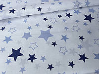 """Польская хлопковая ткань """"звездный карнавал"""" с белыми и синими звездами на белом"""