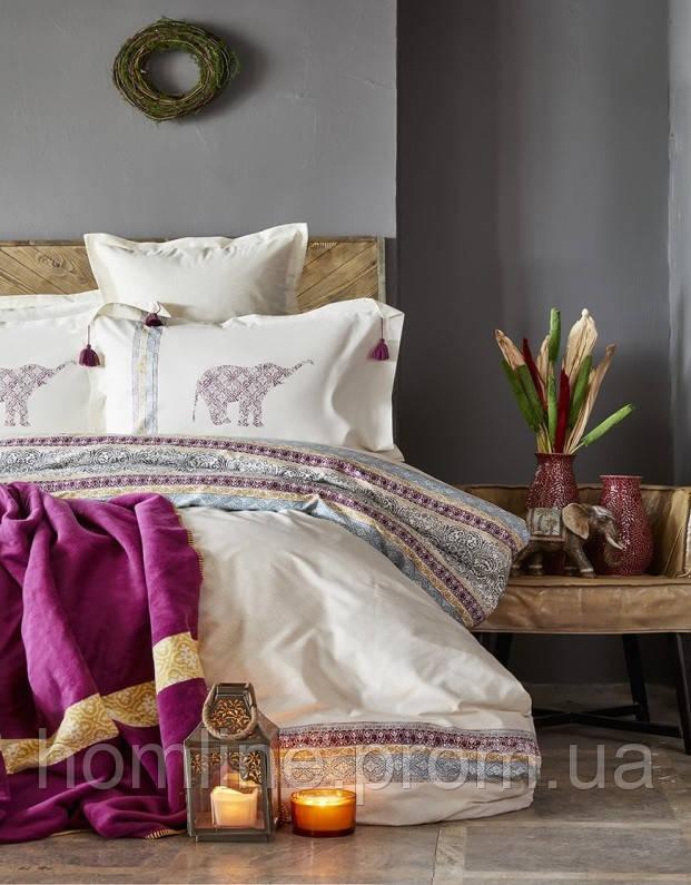 Набор постельное белье с пледом Karaca Home Espilo бордовый евро размера