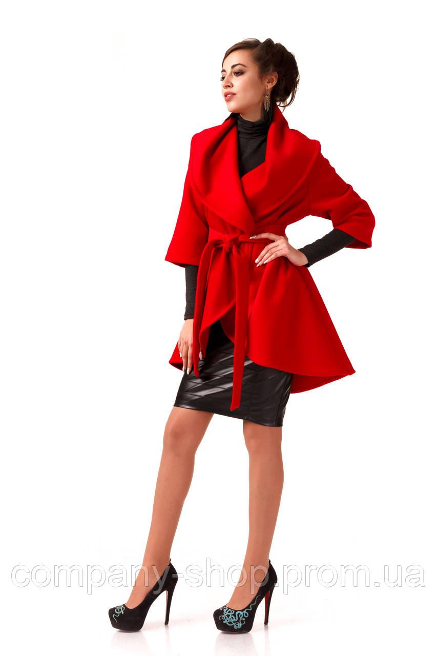 Манто кашемировое женское. Модель ПЛ001_красный.