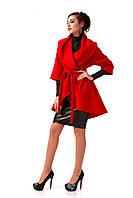 Манто кашемировое женское. Модель ПЛ001_красный., фото 1
