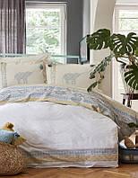 Набор постельное белье с пледом Karaca Home Espilo синий евро размера