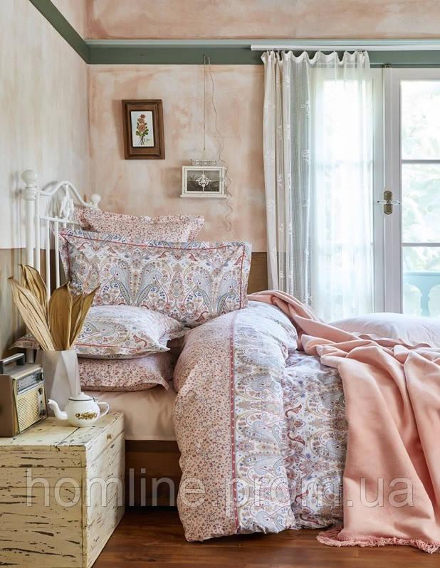 Набор постельное белье с пледом Karaca Home Luminda розовый евро размера