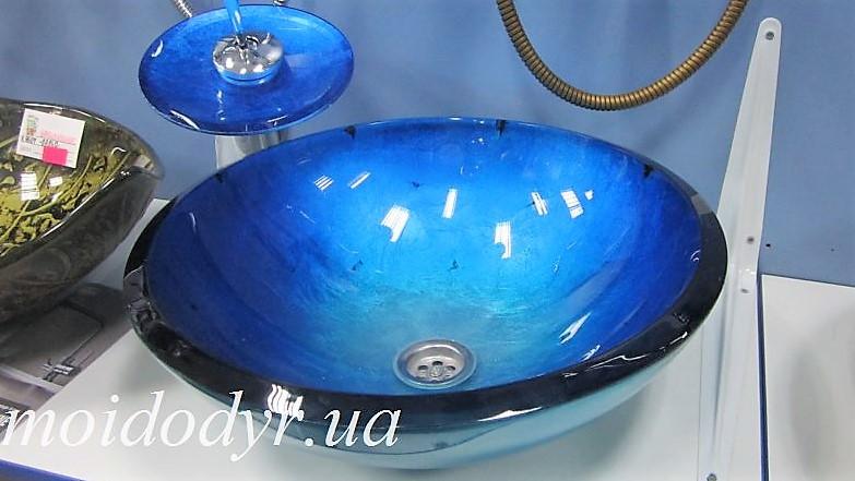 Комплект: умывальник стеклянный круглый GV-204 + смеситель